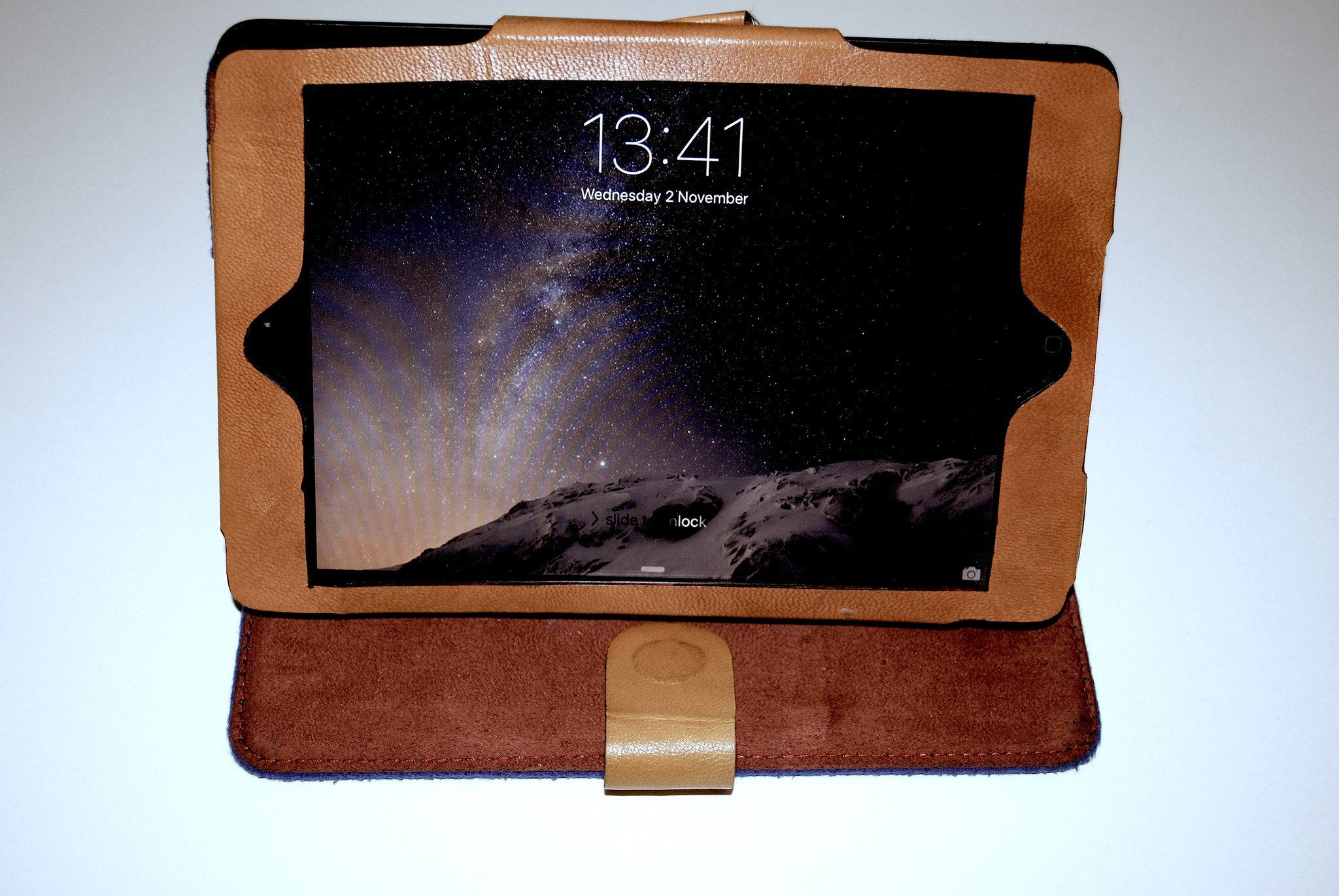iPad Mini Burgundy and Black Cover with fine buff leather in-seam