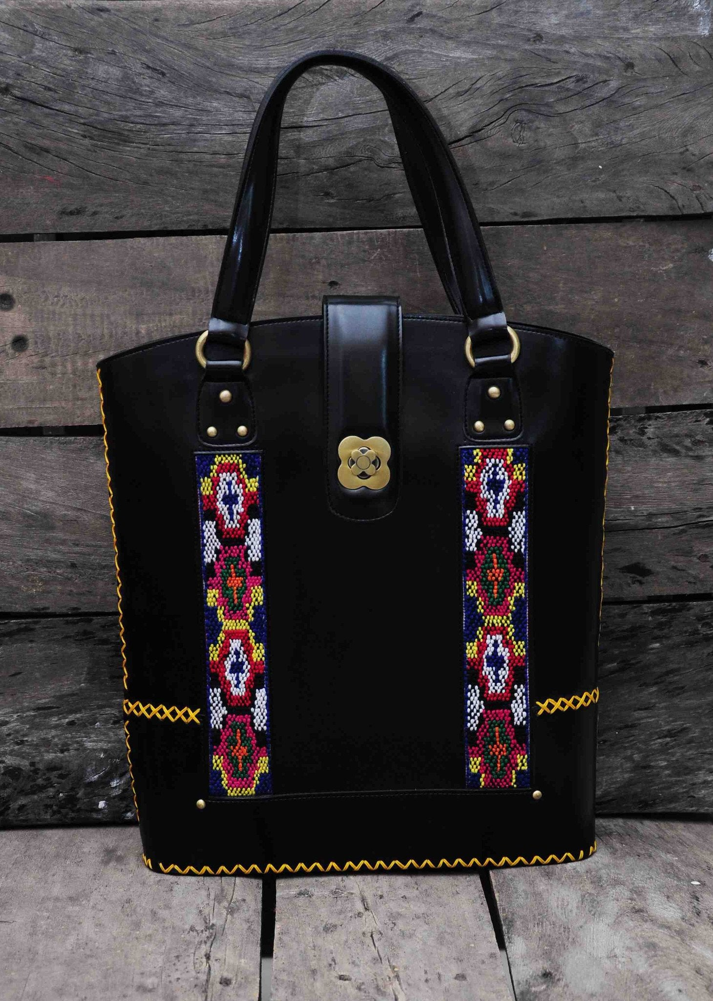 Hand Bag Long Traditional Himalayan Pattern on Faux leather