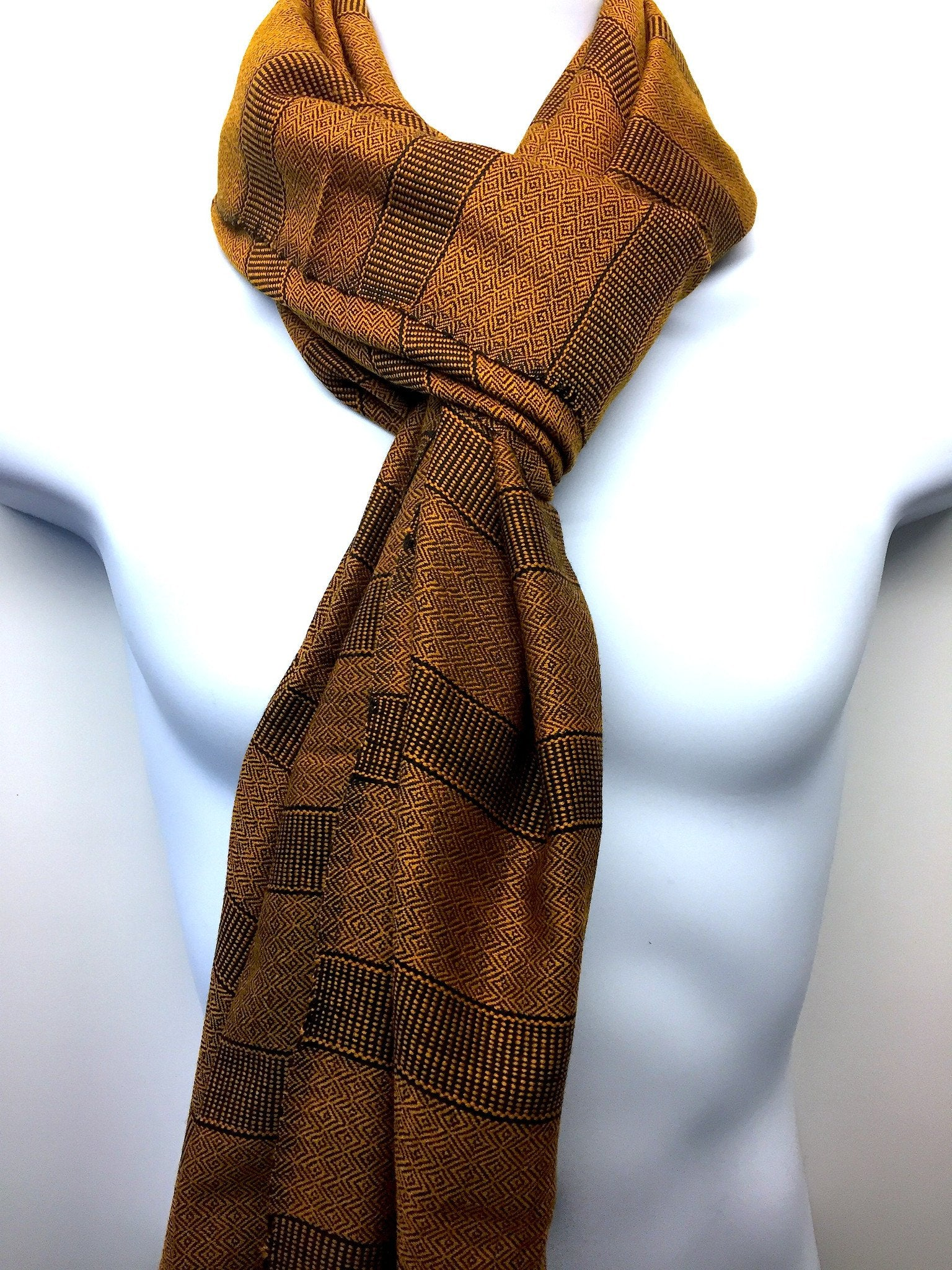Pure 100% Wool, Gold Tinge Stripe, Hand-loom made, Muffler