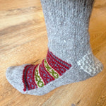 Woolen Socks, Soft Grey With Colourful Pattern