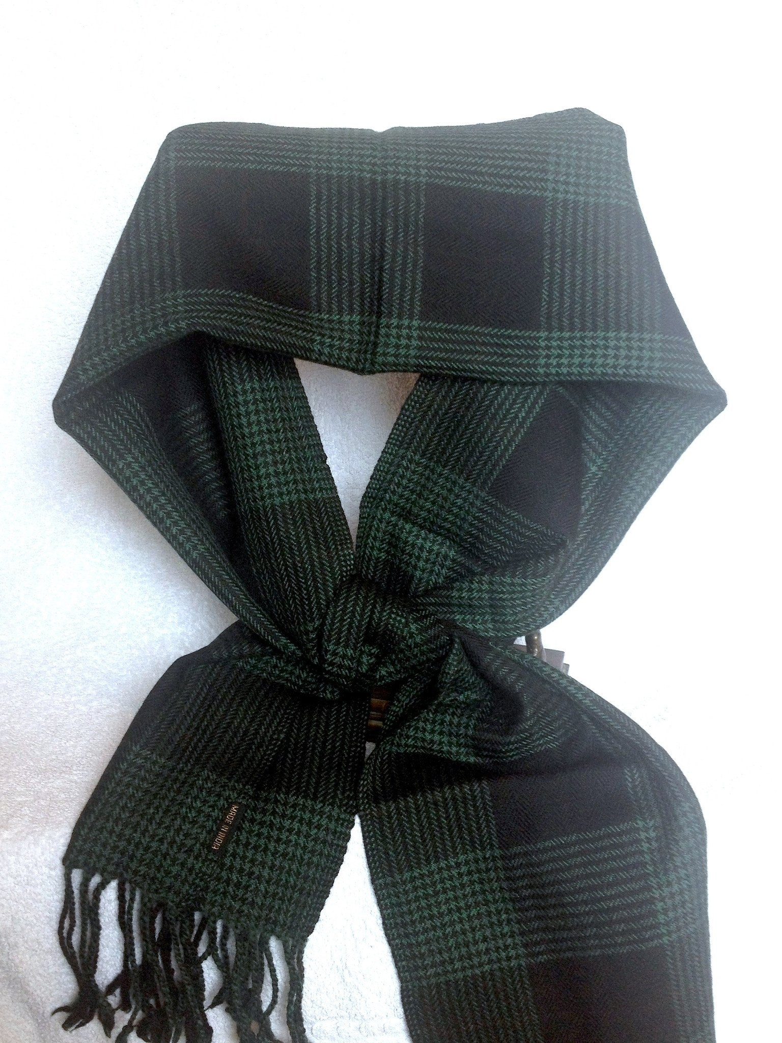 Pure 100% Wool, Green Check, Pattern, Muffler