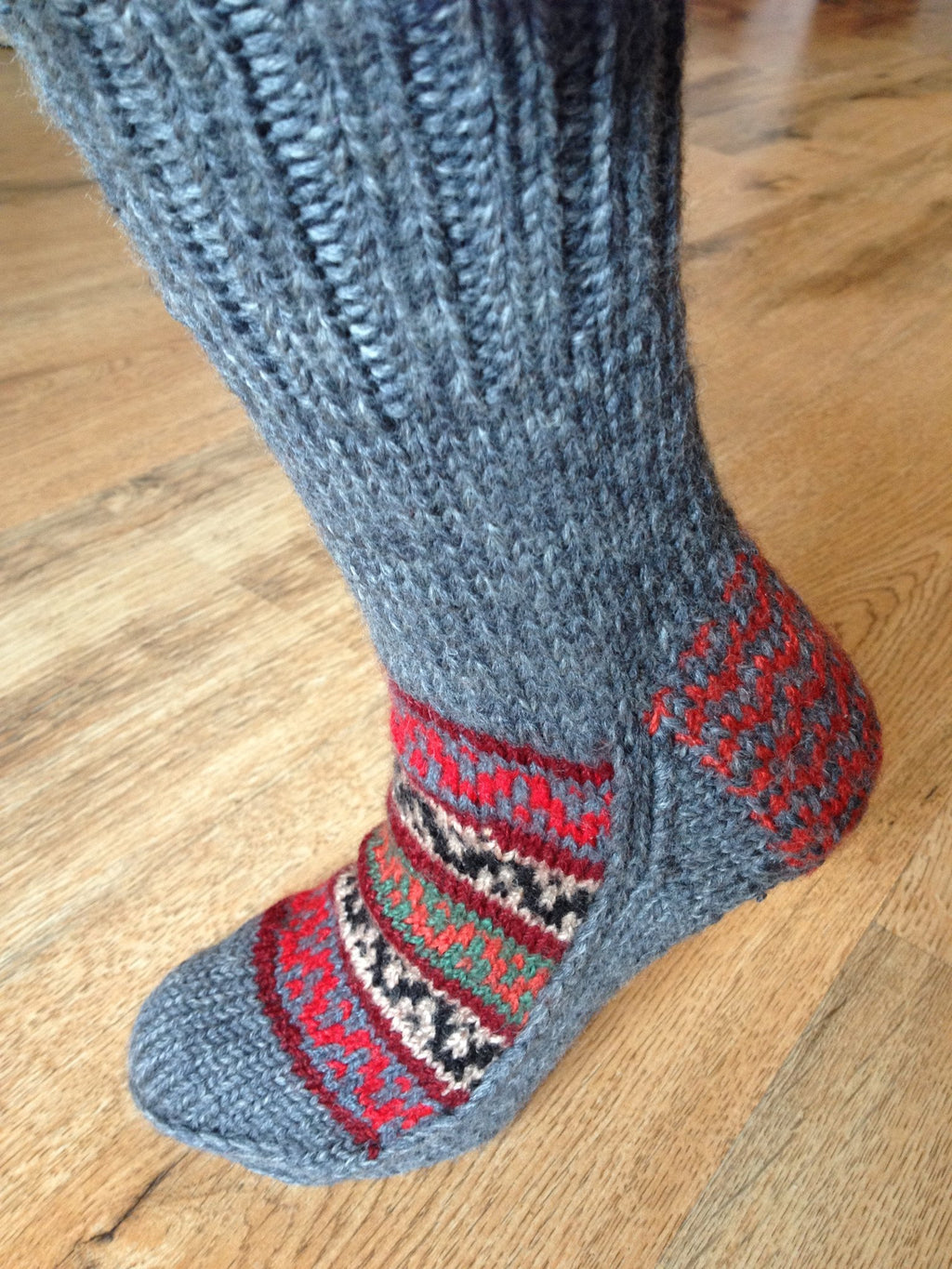Woolen Socks, Grey with Bright Colour Pattern