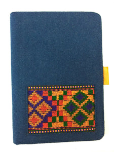 iPad Mini Blue Cover, Embroidered. leather inner frame. Designer accessory