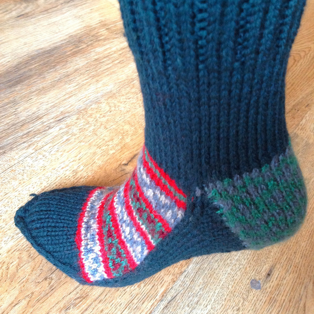 Woolen Socks, Military Green With Colourful Pattern