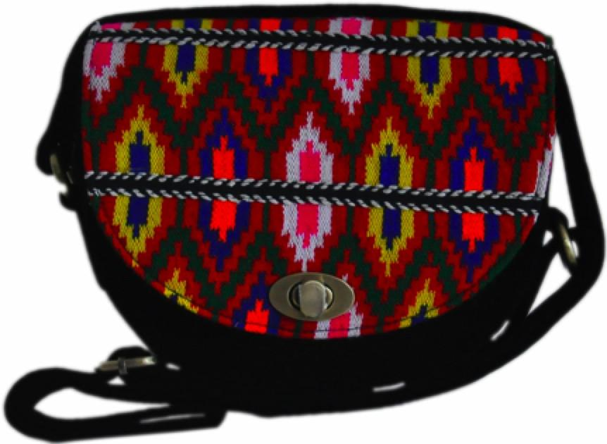 Woven Colourful Traditional Pattern Satchel with Shoulder length Strap