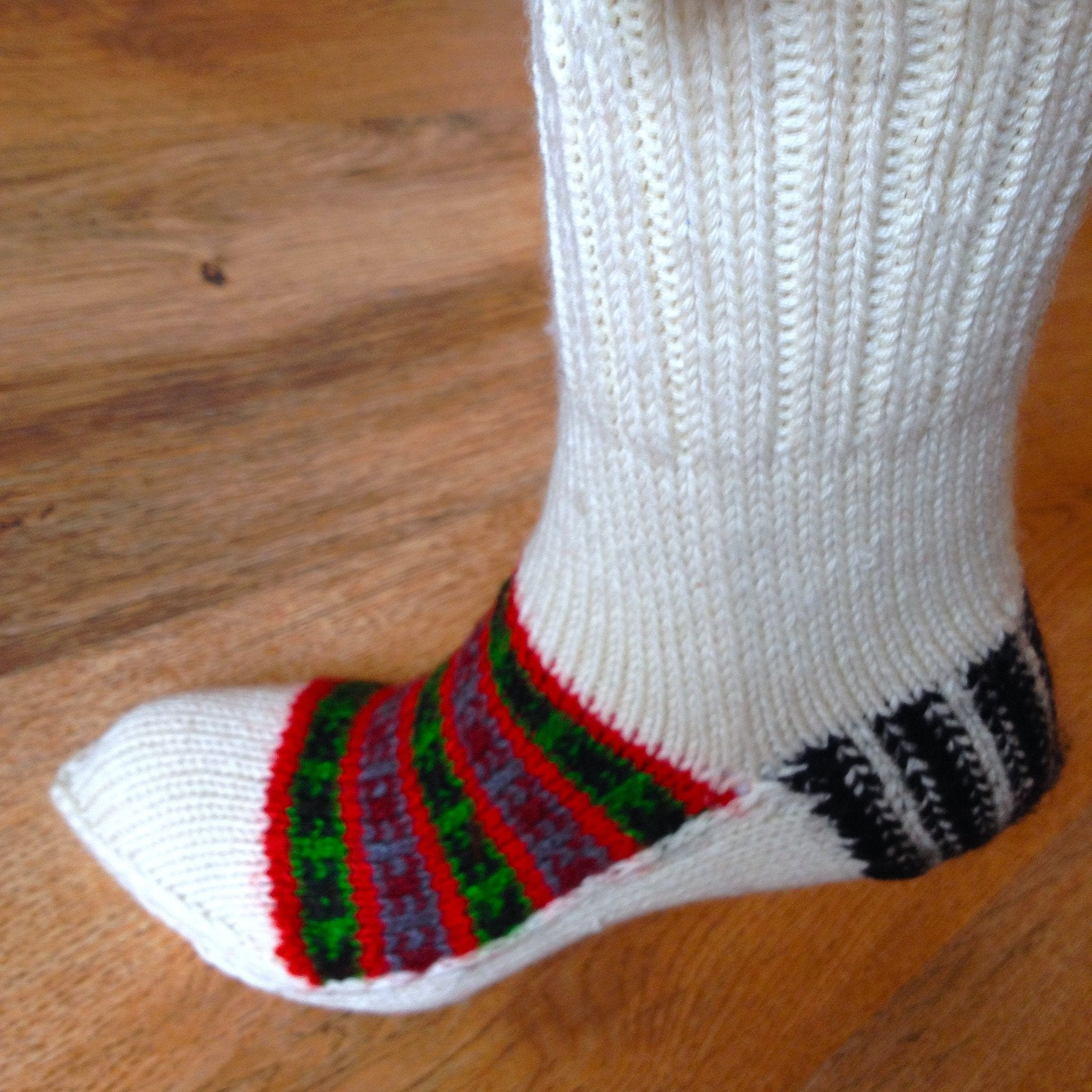 Woolen Socks, White, Red Green, X-mas Collection