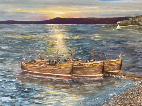 Largs Boats Oil on Canvas Giclee Print