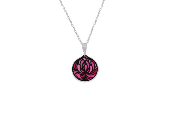 Aluminum Blossom Cup Pink Necklace