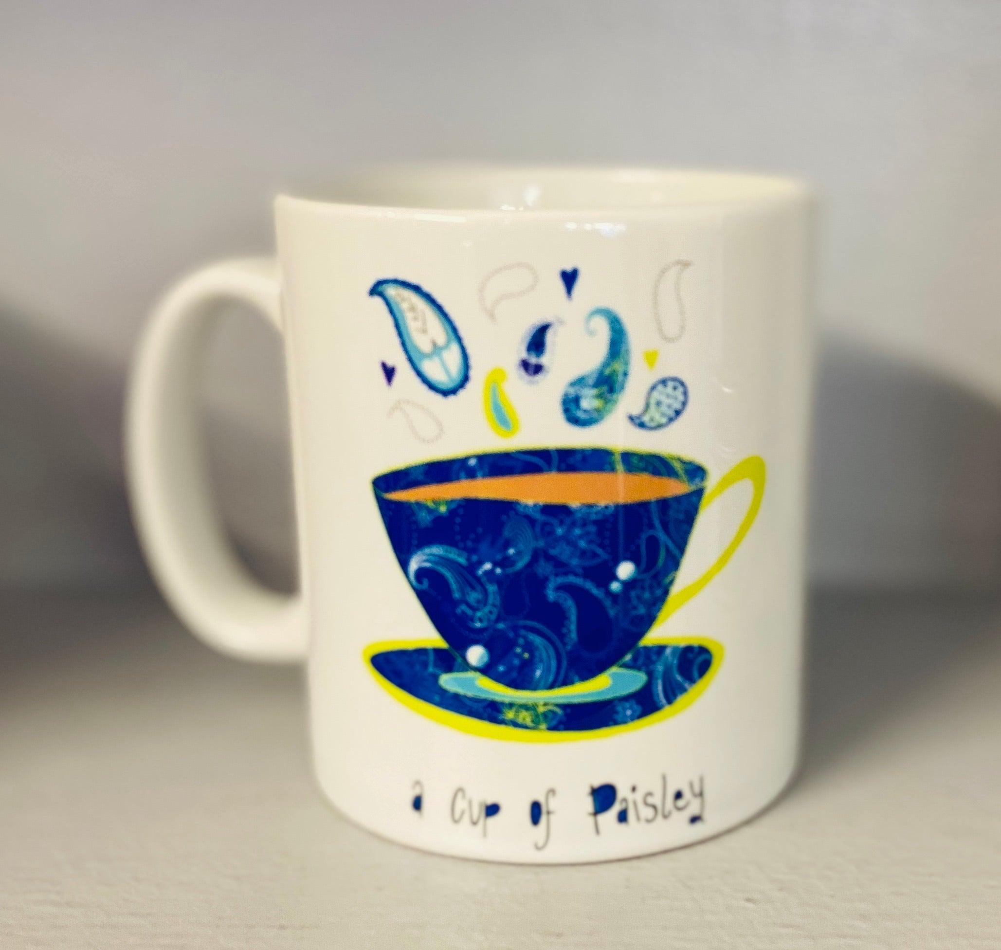 A cup of Paisley Mug-Blue