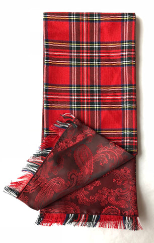 Half Red Tartan / Half Red Paisley Pattern Scarf