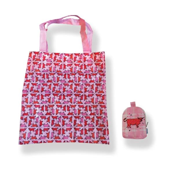 Folding Shopping Bag- Pink Cow