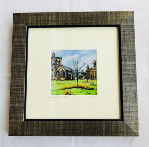 """Paisley Abbey and Town Hall"" Print Small"