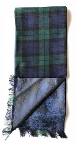 Half Blackwatch Tartan / Half Blue Paisley Pattern Scarf