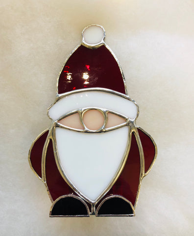 Santa Stained Glass Tea Light Holder