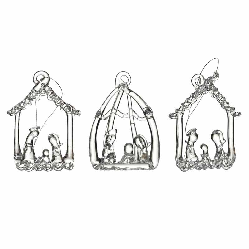 Glass Nativity Tree Decoration