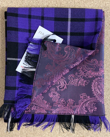 Half Purple Tartan / Half Purple Paisley Pattern Scarf