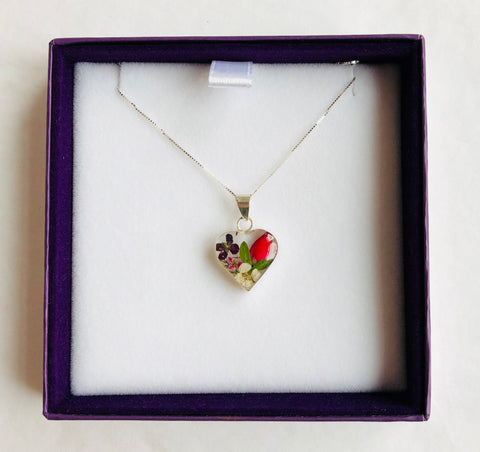 Silver Necklace Mixed Flower Heart
