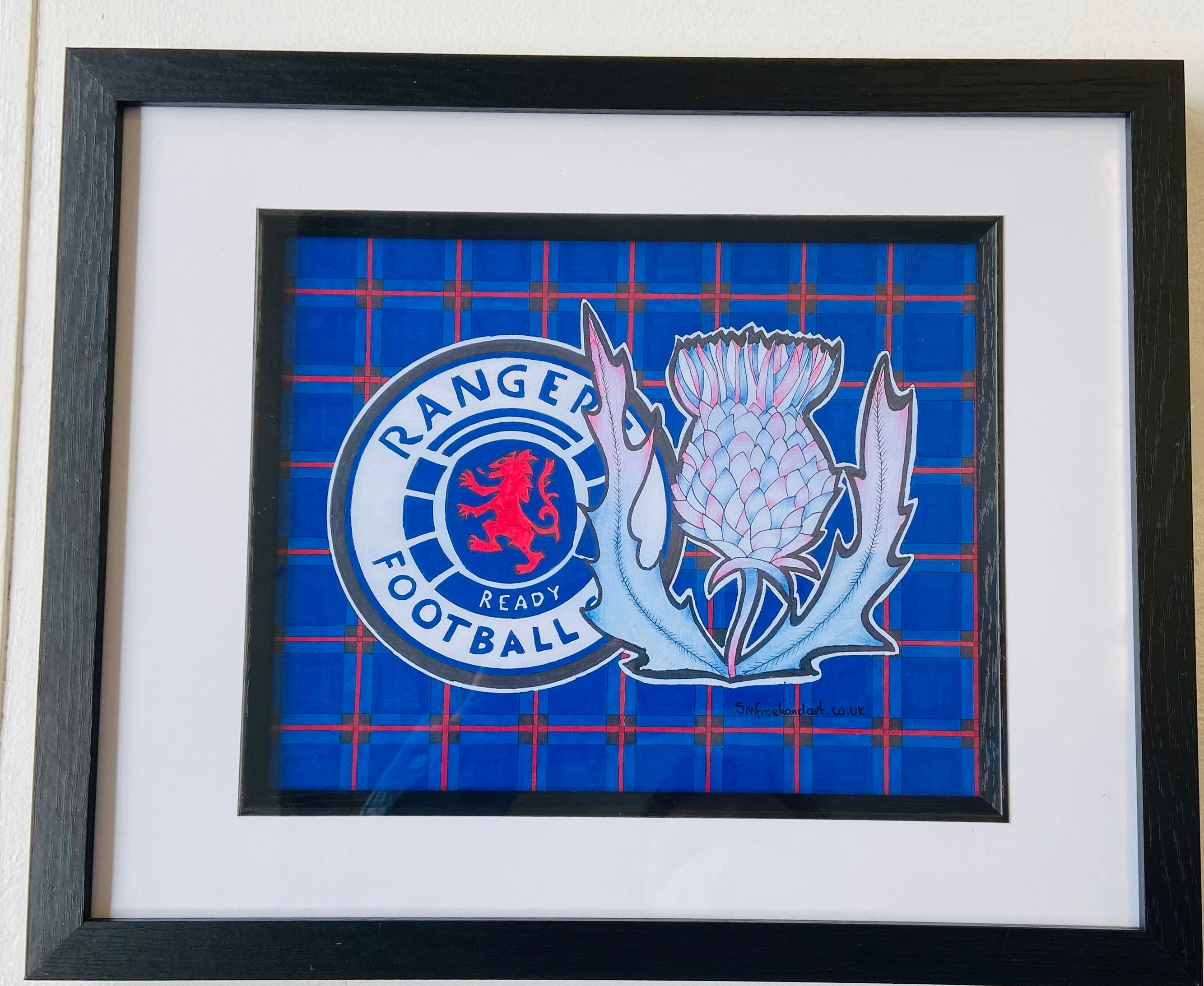 Rangers Freehand Drawing- Framed