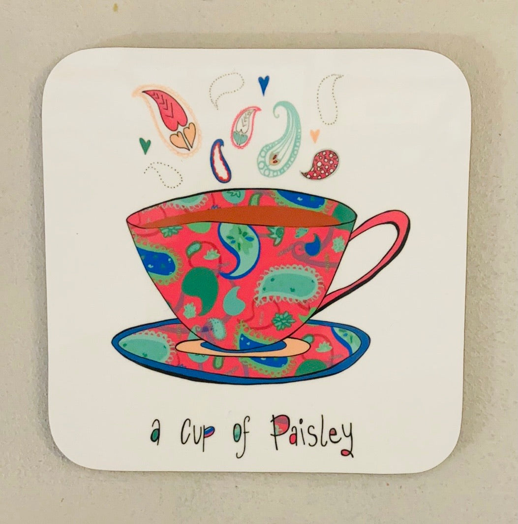 A cup of Paisley Coaster-Pink