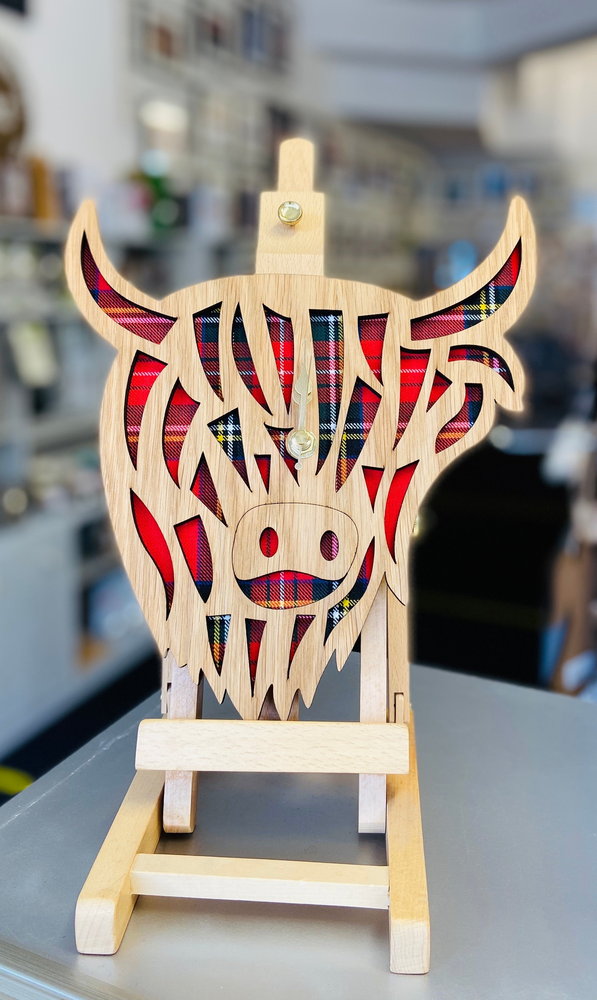 Highland Cow Clock- Stewart Tartan