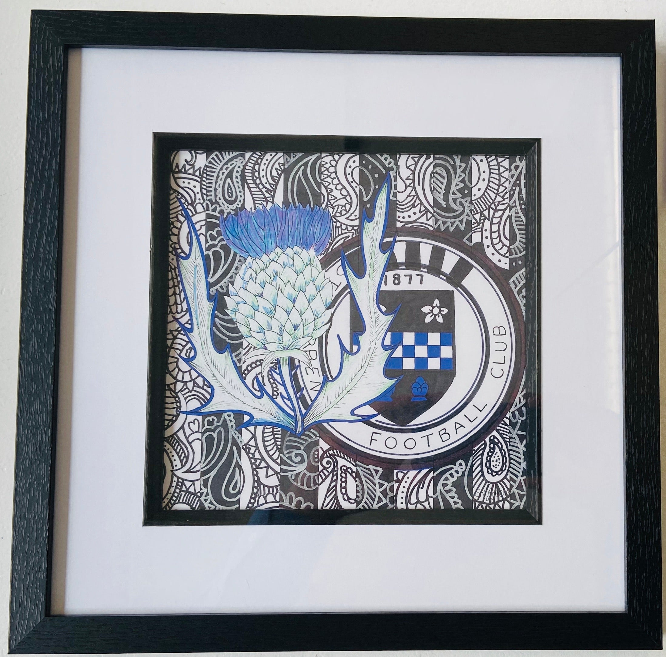 St Mirren Freehand Drawing- Framed