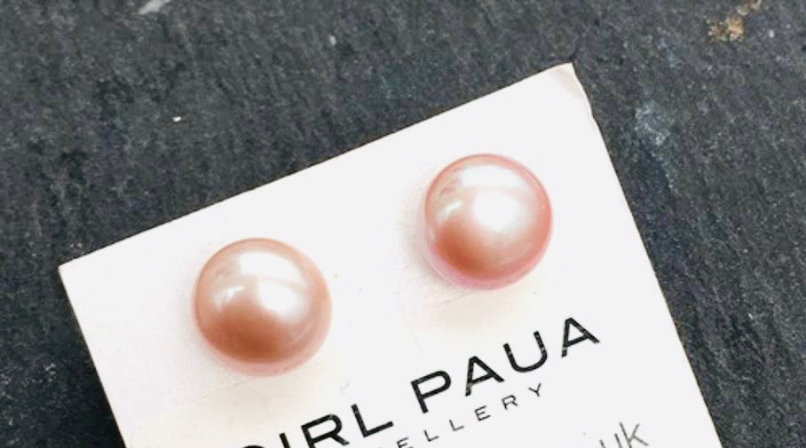 Freshwater Lavender Pink Pearl Earrings- Stud