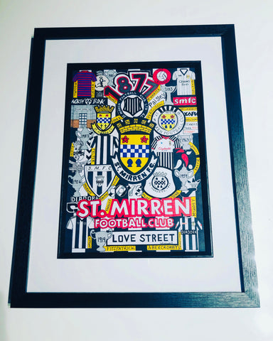 St Mirren Freehand Drawing History- Framed