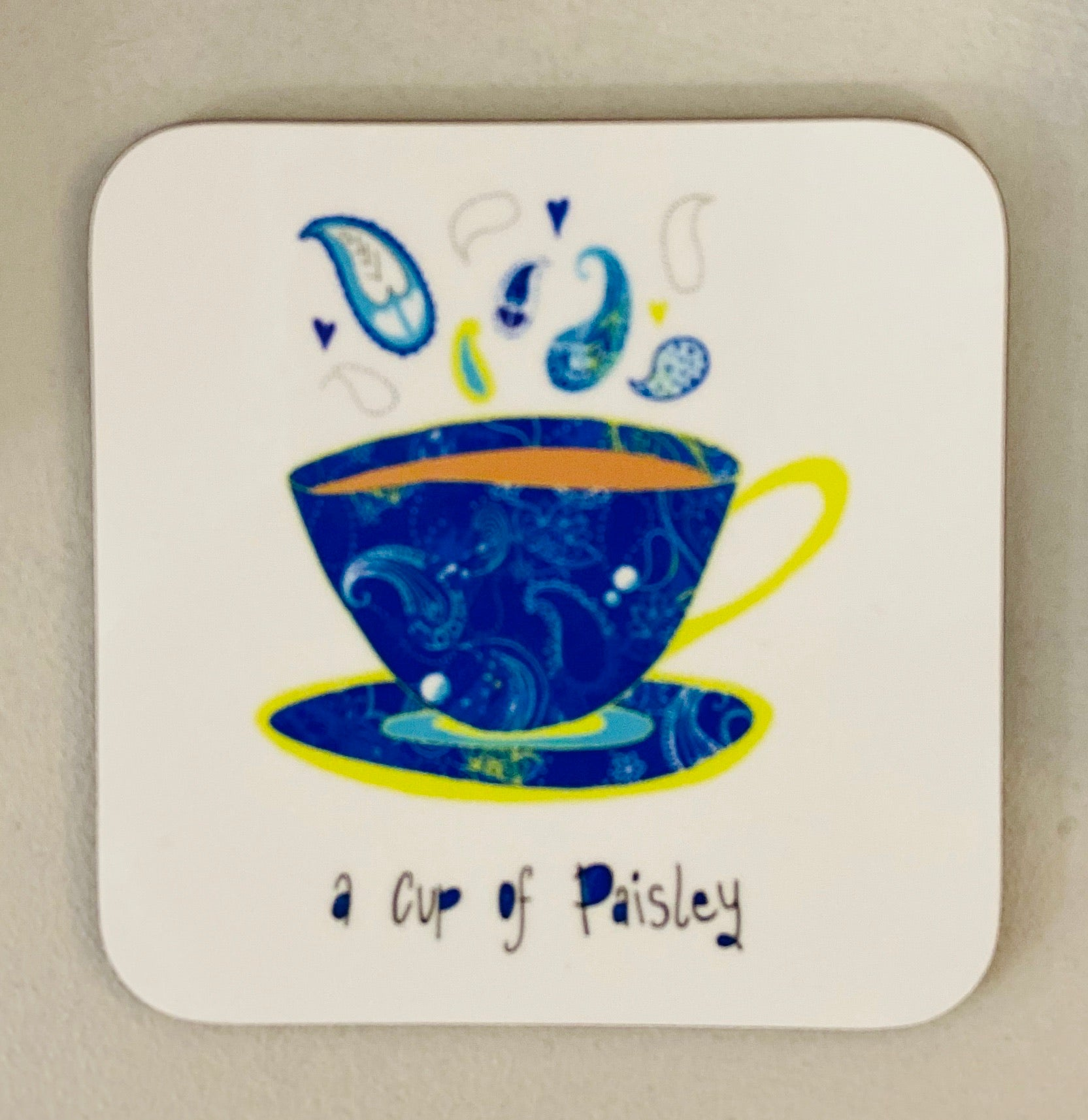 A cup of Paisley Coaster-Blue