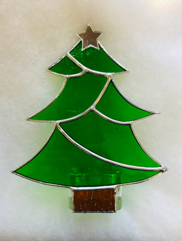 Christmas Tree Stained Glass Tea Light Holder