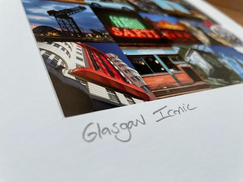 Glasgow Iconic Mounted Print -Colour Framed