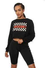 Checkered Logo Cropped LS Tee
