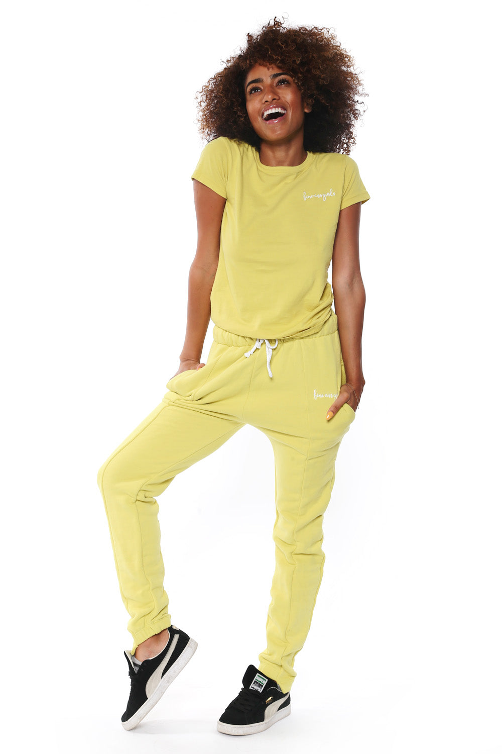 Fitted Sweatpants - Lime Green