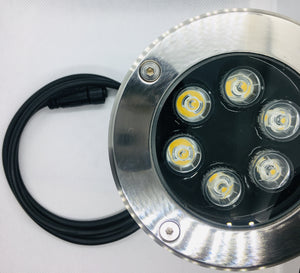 Stainless Steel Uplighter 6W in-ground 12V LED Plug and Play Garden Light