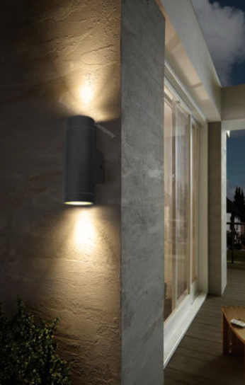 Black Stainless Steel Double Garden Up / Down wall light