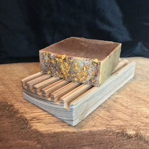 Cypress natural wood soap dish