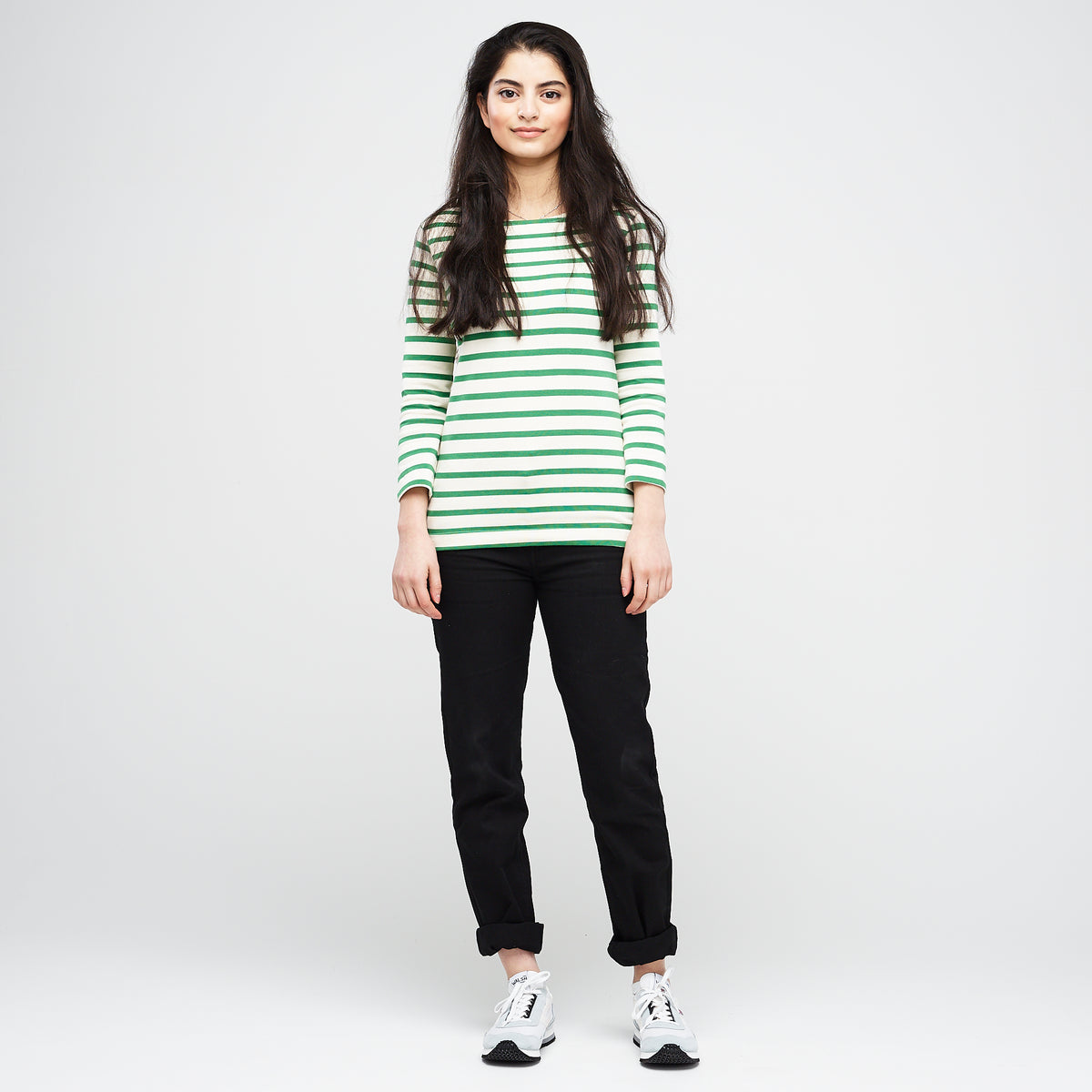 Women's 3/4 Sleeve Breton Ecru/Green - Community Clothing