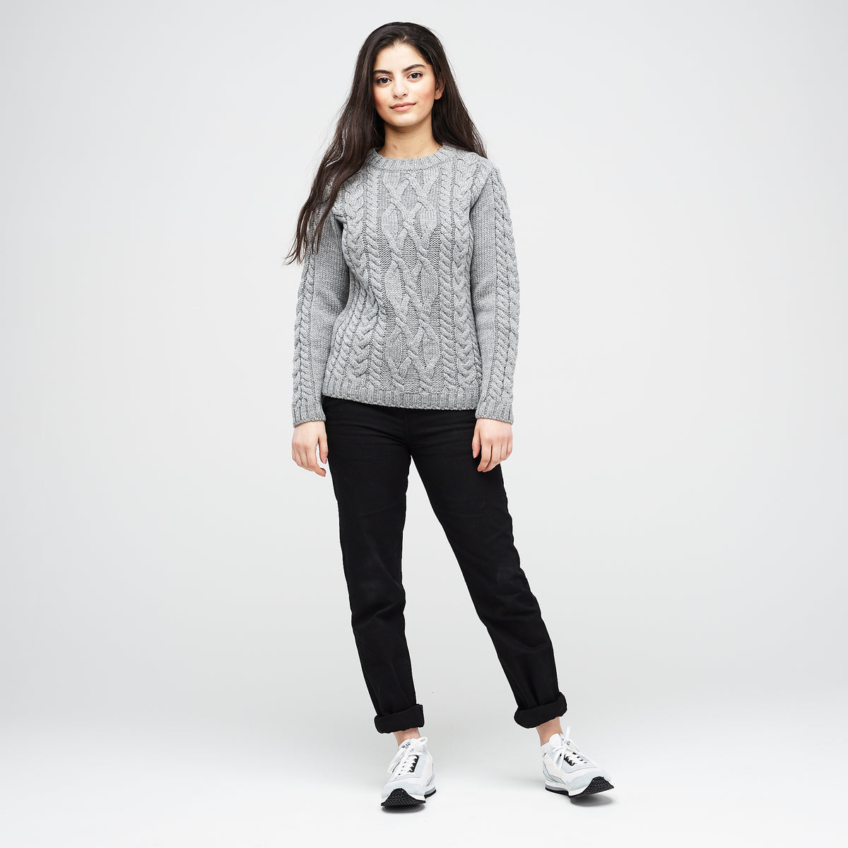 Women's Merino Cable Knit Jumper Grey - Community Clothing
