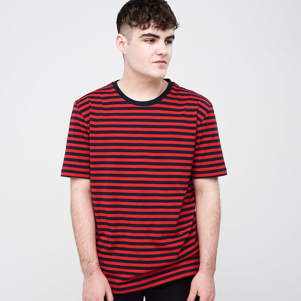 Men's Short Sleeve Stripe T-Shirt Navy/Red - Community Clothing