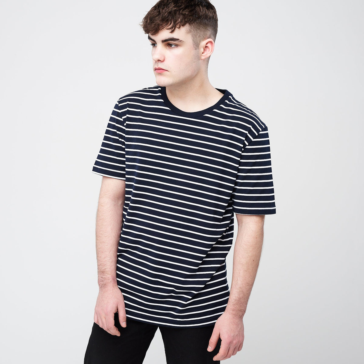 Men's Short Sleeve Stripe T-Shirt Navy/Thin White - Community Clothing