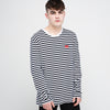 Men's Long Sleeve Stripe T-Shirt Navy/White - Community Clothing