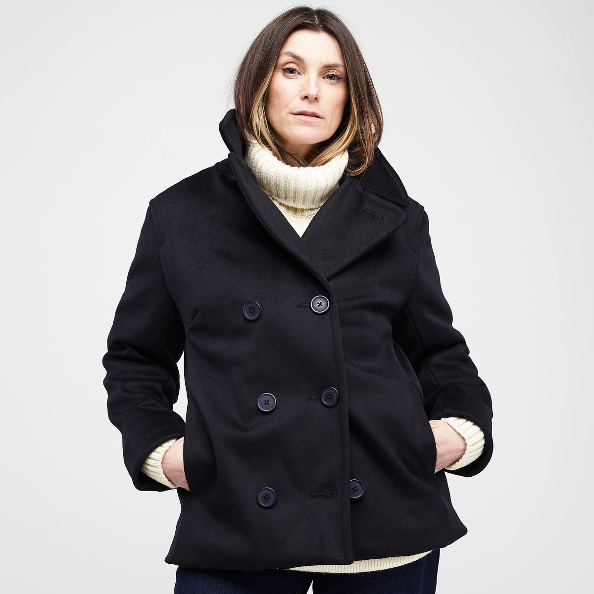 Women's Melton Peacoat Dark Navy - Community Clothing