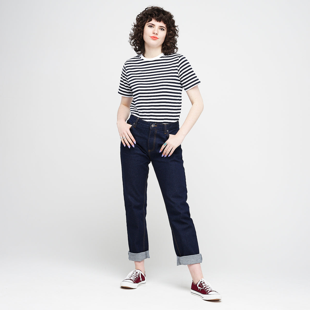Women's Short Sleeve Stripe T-Shirt White/Navy - Community Clothing