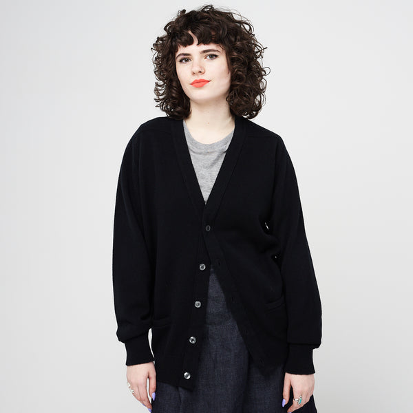 Lambswool Cardigan Black - Community Clothing