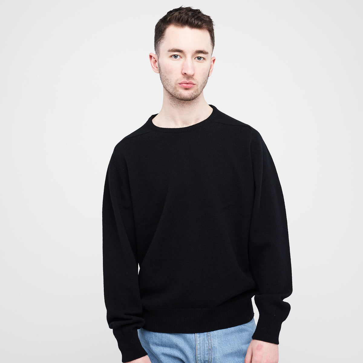 Lambswool Crew Neck Jumper Black - Community Clothing