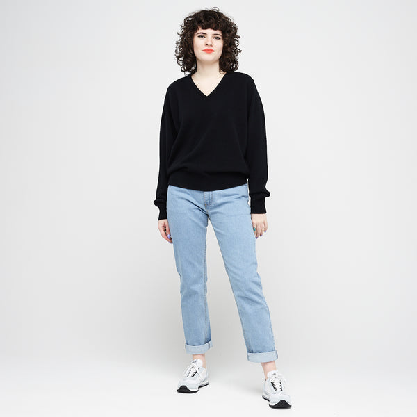 Lambswool V Neck Jumper Black - Community Clothing