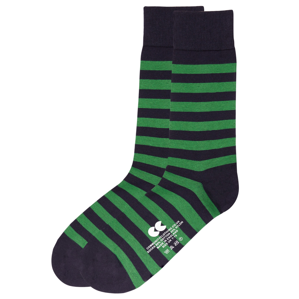Striped Socks Navy/Green - Community Clothing