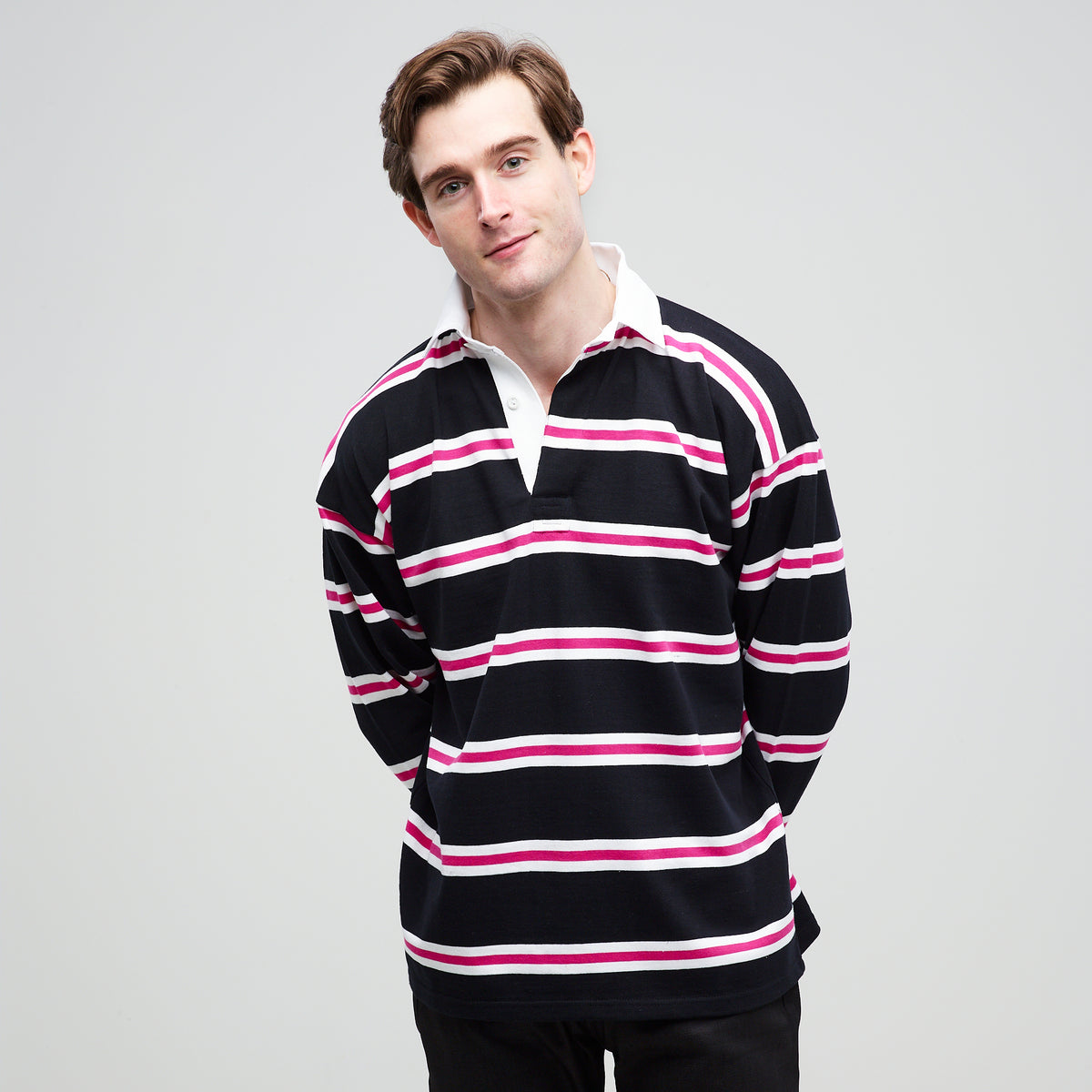 Men's Rugby Shirt Black White Pink - Community Clothing
