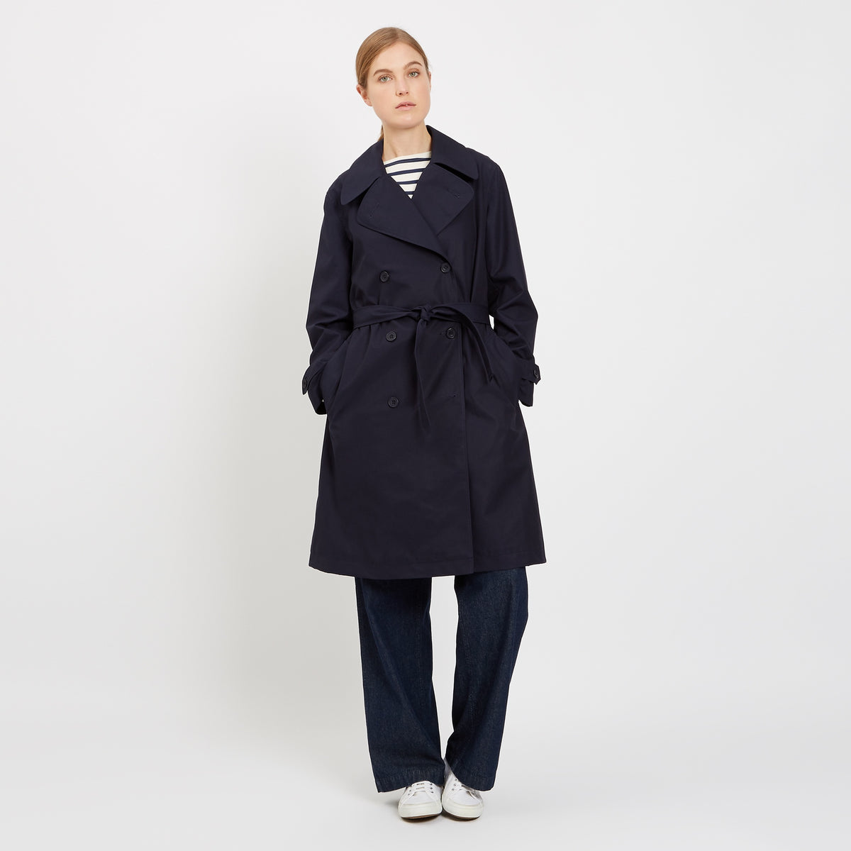 Women's Double Breasted Trench Navy