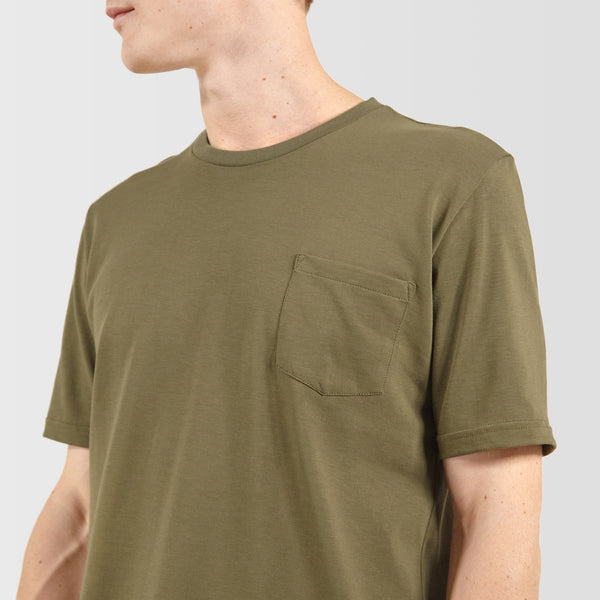 Men's Short Sleeve Pocket T-Shirt Olive - Community Clothing