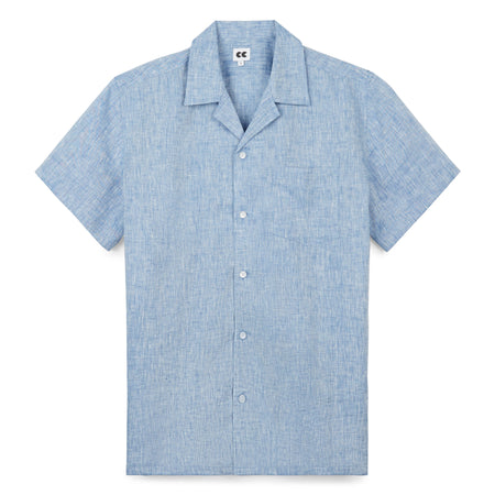 Camp Collar Shirt - Linen - Blue